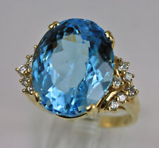 Huge 22.0cts Blue Topaz Diamond 14K Gold Ring Spectacular Estate Jewelry