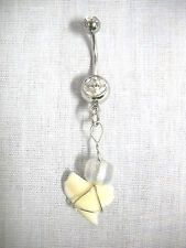 Clear Glass Bead & 14g Cz Belly Ring Real Wire Wrap Natural Shark Tooth Charm w
