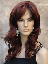 Long Wavy Dark and Red auburn mix OFF CENTER Part WIG JSPP #33/130