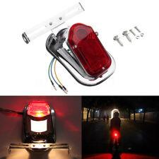 12V Motorcycle Bike Chrome Red Tombstone Brake Tail Light Signal For Harley
