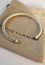 David Yurman Sterling Silver 5mm Bracelet With Peridot And Diamonds.