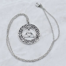 Viking Silver Necklace Celtic Knot Unisex Lucky Amulet Pendant Gift Long Chain