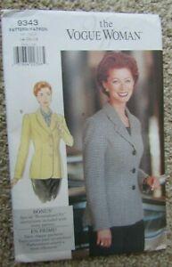 1995 The Vogue Woman Pattern 9343 MISSES' JACKET Sz 14-16-18 Uncut