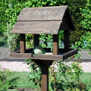 New Premium Wooden Bird Table Garden Birds Feeder Feeding Station Free Standing