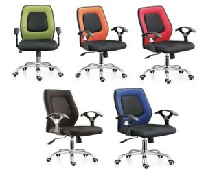 Office Executive Racing PC Desktop Swivel PU Chair Armrest Medium Back Durable