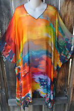DILEMMA HAND PAINTED ESTEVE INSPIRED CREPE DE CHINE ART TO WEAR LONG PONCHO, OS