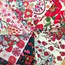 """Lovely Rare Vintage Liberty of London Tana Lawn 4"""" Squares #1 Reds"""