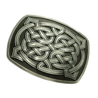 Celtic Pattern Belt Buckle Rectangle Western Cowboy Rodeo Indian Silver