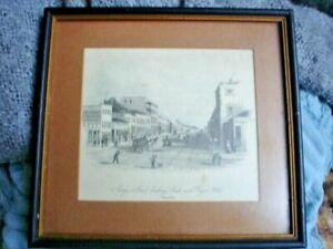 AUSTRALIANA CIRCA 1853 SYDNEY GEORGE ST ROYAL HOTEL FRAMED PRINT 20 X 18 cm