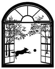 "Black Arched Window Dog 4"" Large Fused Glass Decal 15CC541"