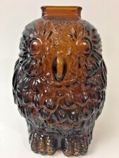 WISE OLD OWL Bank Glass Libbey of Canada Vintage Amber Brown Penny Coin Piggy GD