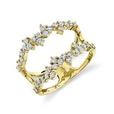 Vintage Right Hand Round Cut 0.68 Ct 14K Yellow Gold Diamond Open Cocktail Ring