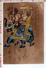Mughal Elephant Procession Vintage India Miniature Postcard Painting #18422