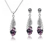 Púrpura uva austríaco Cristal Gotas Collar conjunto