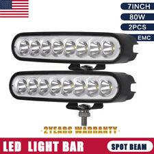 7inch 80W 2PCS Cree LED Work Light Bars Black ATV SUV 4X4 Jeep Truck Spotlight