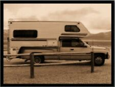 "*Postcard-""Truck with Camper"" -Trailer- Parked on Side of Road-...(B488)"