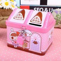 Cute House Modeling Iron Piggy Bank Money Saving Box Kids Coin Deposit 6F