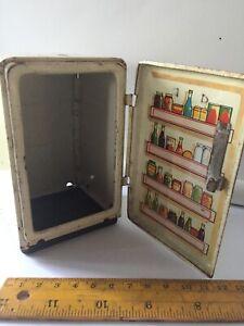 Vintage doll house fridge metal open door
