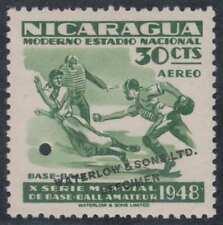 "NICARAGUA 1949 WORLD SERIES OF BASEBALL Sc C303 PERF PROOF ""SPECIMEN"" MNH VF"