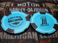 Aquamarine & Black #1 Poker Chip Collier Harley Davidson Roanoke Rapids, NC