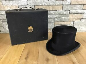 ANTIQUE  G.A.DUNN & CO  BLACK SILK TOP HAT WITH LINCOLN BENNETT HAT BOX