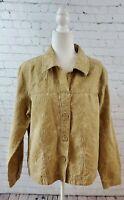 Coldwater creek tan lightweight jacket, button up, 1x cotton blend, leaf pattern