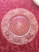8 antique glass etched and engraved grape and vine pattern plates