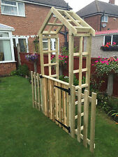 Garden Arch with a gate and side fencing free local delivery or postage