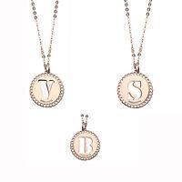 Boccadamo Mediterraneo collana in bronzo rosato con lettera iniziale traforata