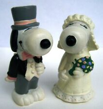 VINTAGE PEANUTS - CHARLIE BROWN - SNOOPY & BELLE BRIDE & GROOM WEDDING FIGURES