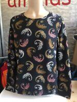 H&M Pullover Gr S Schwarz Bunt Gemustert mit Salamander Stretch Mix 1A Zustand