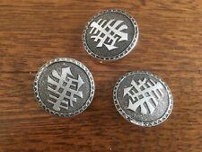 3 x Silver shank buttons- Japanese symbols - 3cm