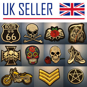NEW Embroidered Iron On Patches - Skulls, Flag, TV, Movies, Cartoon, Bag