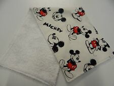 Burp Cloth - Mickey Mouse Black Red & White Cartoon - 1 Only Toweling Back