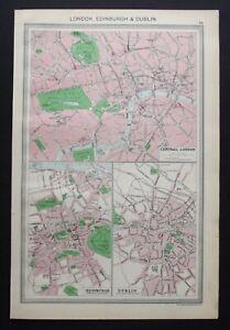 Antique Map: London, Edinburgh & Dublin by George Philip, 1907, Colour