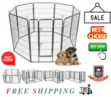"""New listing 24""""/32""""/40 34; 8 Panel Metal Pet Puppy Dog Kennel Fence Playpen"""