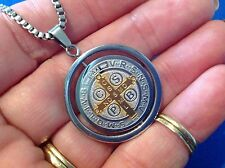 St BENEDICT Protection NECKLACE Two Tone Saint Medal Stainless Steel Spinner 27""