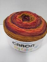 Caron Big Cakes yarn Cranberry Crisp 10.5 oz SELF STRIPING rust brown plum