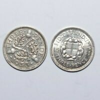 1933 & 1941, Threepence Great Britain Silver a Lot of 2 Value Vintage Coins