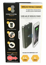 Honeycomb 3-IN-1 WIRELESS PORTABLE CHARGER 5000 mAh POWER BANK iPhone Galaxy Qi