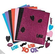 """150 Regular & Glitter Love Mustache Foam Sticker 2"""" Valentine Pink Orange more"""