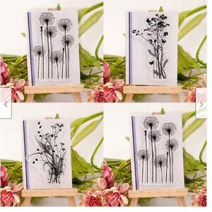 DIY flower grass transparent silicone clear rubber stamp sheet cling scra_da
