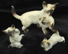 1970's 3 pc. miniature Siamese Chocolate Point Cat Figurines mom +3 kittens [d21