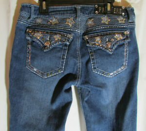Premiere Rue 21 Low Rise Silver Sequin Rhinestones Jeans Slim Bootcut Size 7/8 R