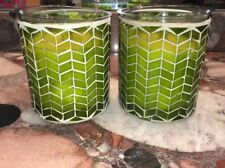 NWT WoodWick Apple Basket Green Chevron Mosaic Glass Jar 10oz Candles Set of 2