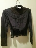 vintage Edwardian black silk, lace and embroidered mourning bodice