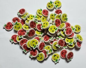 Lot of 40 Mini Red & Green Happy Face Apples Rubber Pencil Eraser Small