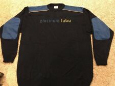 Vintage Platinum Fubu Mens Sweater XXL 2XL Navy Blue/Yellow W/ Blue Elbow Patch