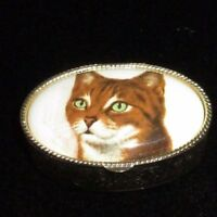 Made In Italy Golden Filigreed Metal Porcelain Cat Oval Pill Trinket Box Vintage