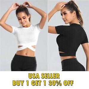 Women Short Sleeve Sports Casual Stretch Crop Cropped Top T-Shirt S - XL